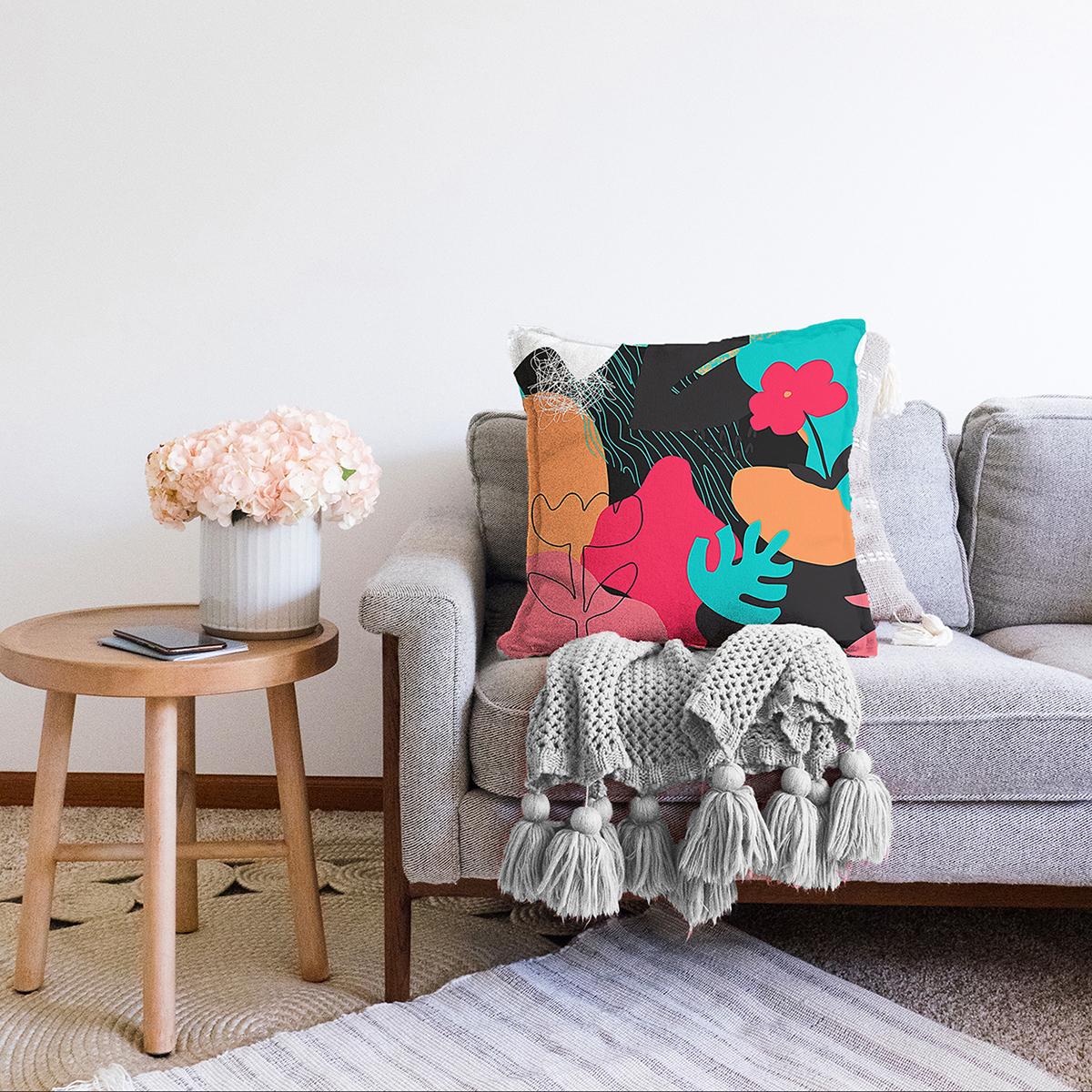 Çift Taraflı Renkli Zemin Üzerinde Geometrik Yaprak Desenli Modern Şönil Yastık Kırlent Kılıfı Realhomes