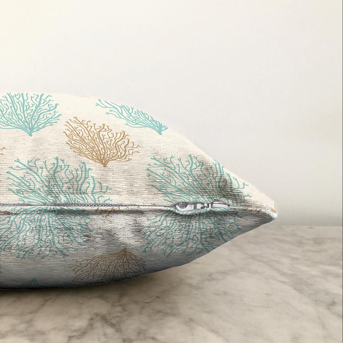 Çift Taraflı Renkli Zeminli Deniz Otu Desenli Dijital Baskılı Modern Şönil Yastık Kırlent Kılıfı Realhomes