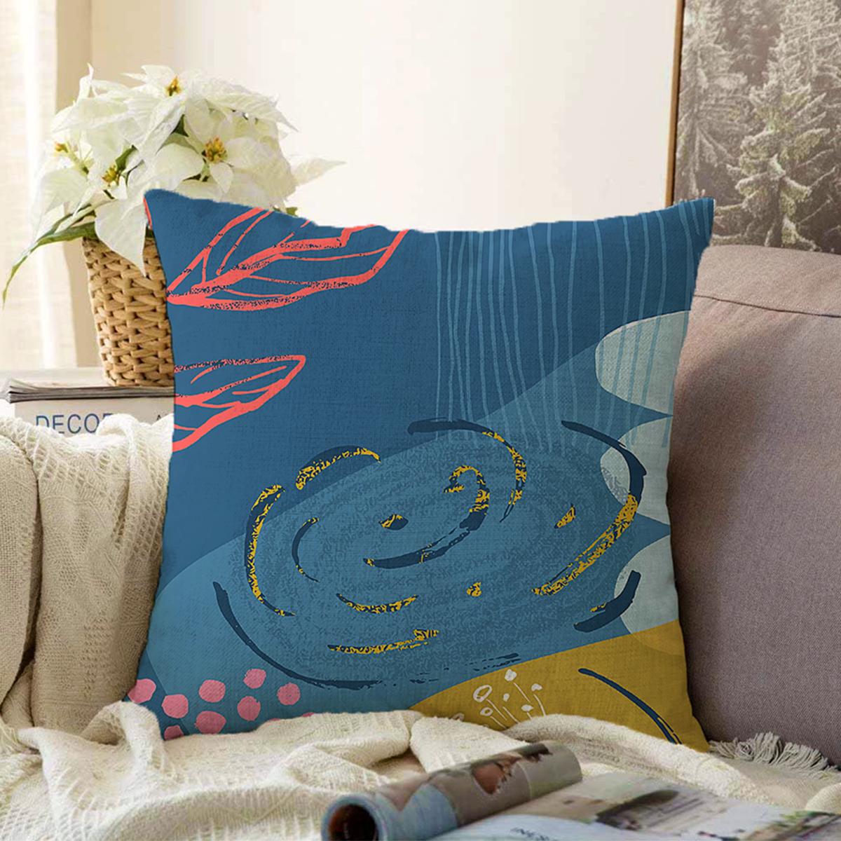 Çift Taraflı Renkli Zemin Üzerinde Pastel Renkli Yaprak Desenli Modern Şönil Yastık Kırlent Kılıfı Realhomes