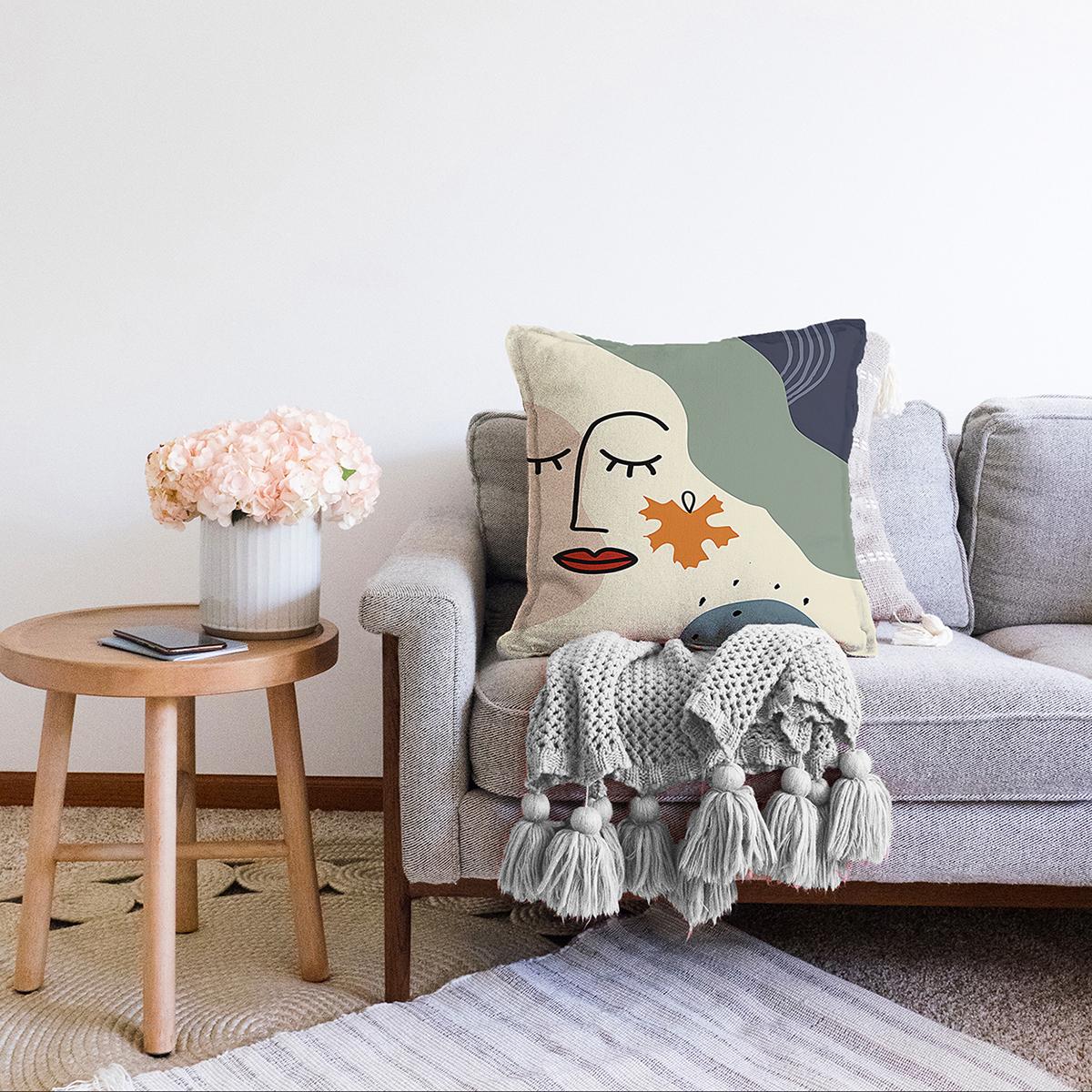 Çift Taraflı Pastel Zemin Üzerinde Onedraw Çizimli Bayan Silüeti Şönil Yastık Kırlent Kılıfı Realhomes