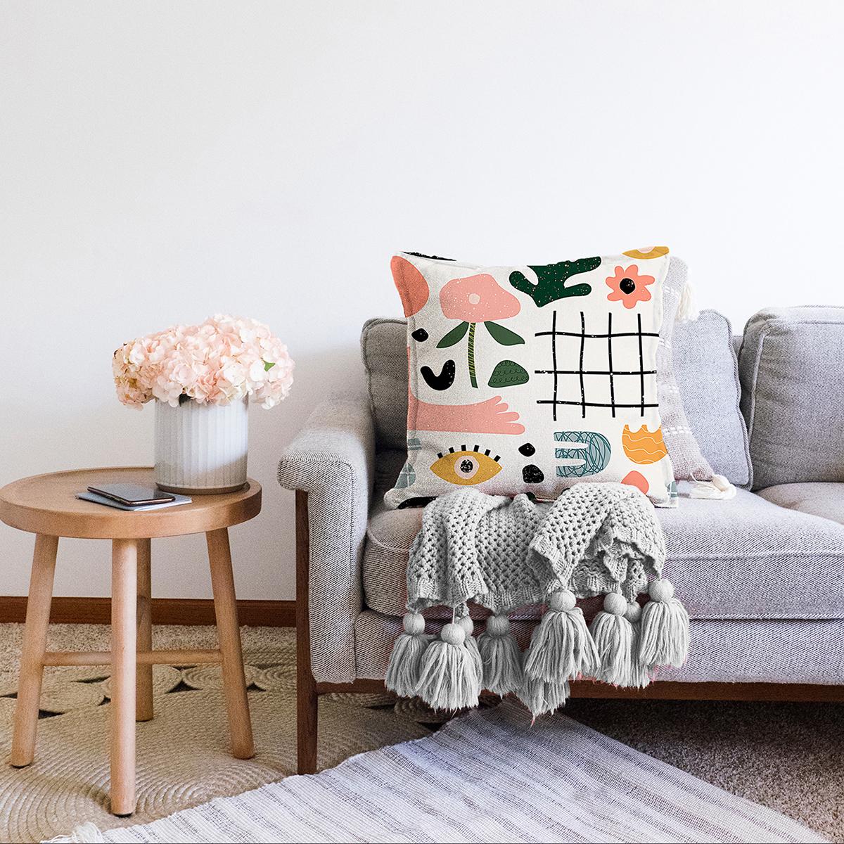 Çift Taraflı Beyaz Zeminli Geometrik Desenli Dijital Baskılı Modern Şönil Yastık Kırlent Kılıfı Realhomes