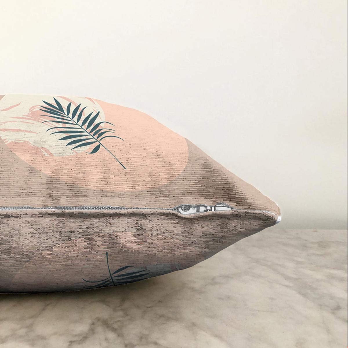 Çift Taraflı Pastel Zemin Üzerinde Yaprak Desenli Dijital Baskılı Modern Şönil Yastık Kırlent Kılıfı Realhomes