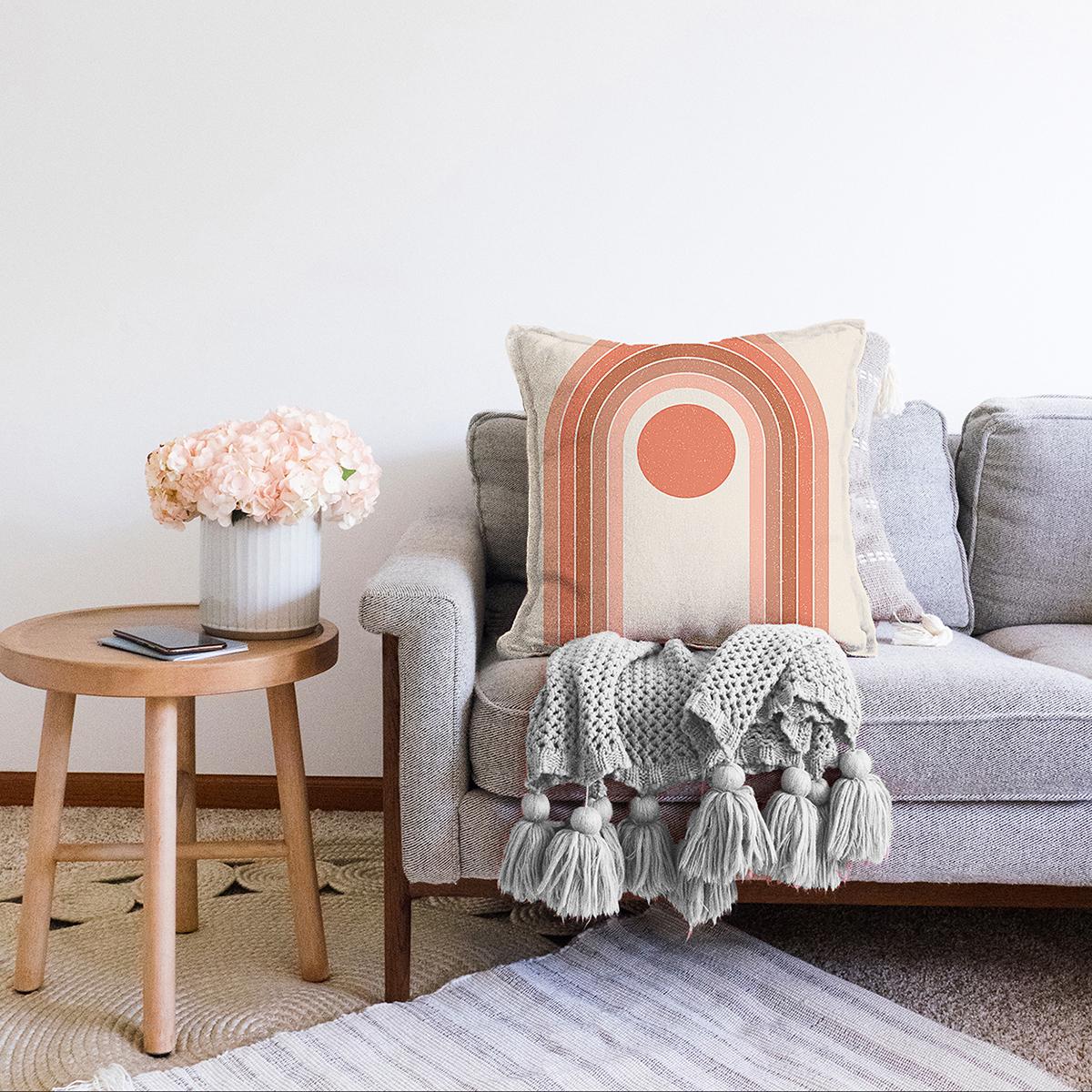 Çift Taraflı Renkli Zeminli Geometrik Desenli Dijital Baskılı Modern Şönil Yastık Kırlent Kılıfı Realhomes