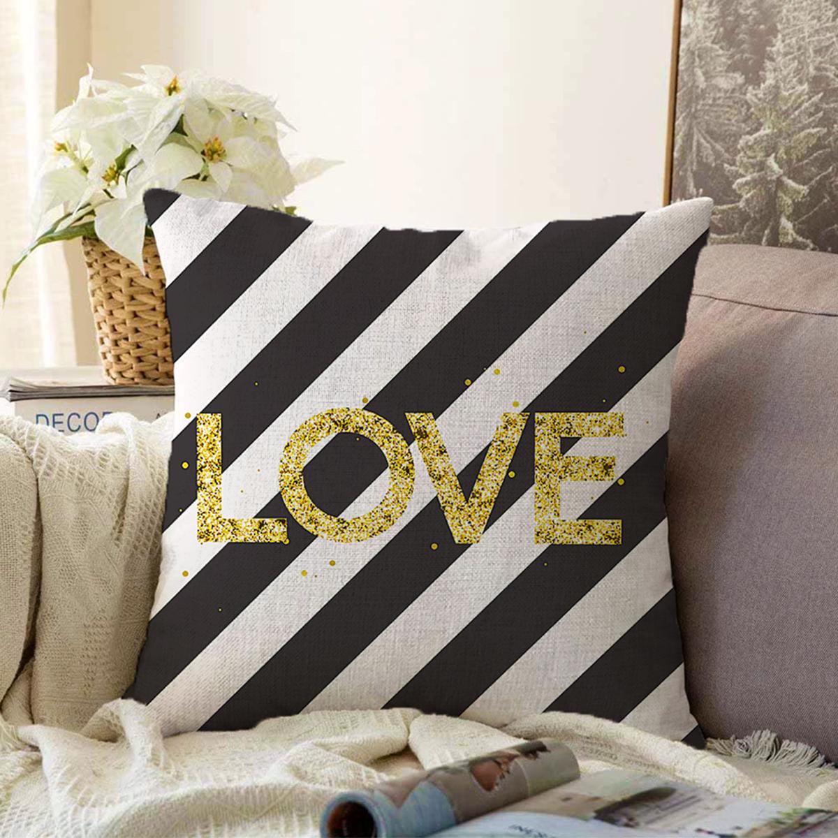 Çift Taraflı Beyaz Zemin Üzerinde Siyah Yatay Çizgili Gold Renkli Love Yazılı Şönil Kırlent Kılıfı Realhomes