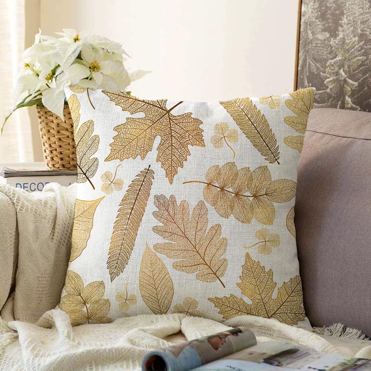 Çift Taraflı Beyaz Zemin Üzerinde Gold Detaylı Yaprak Desenli Modern Şönil Yastık Kırlent Kılıfı Realhomes