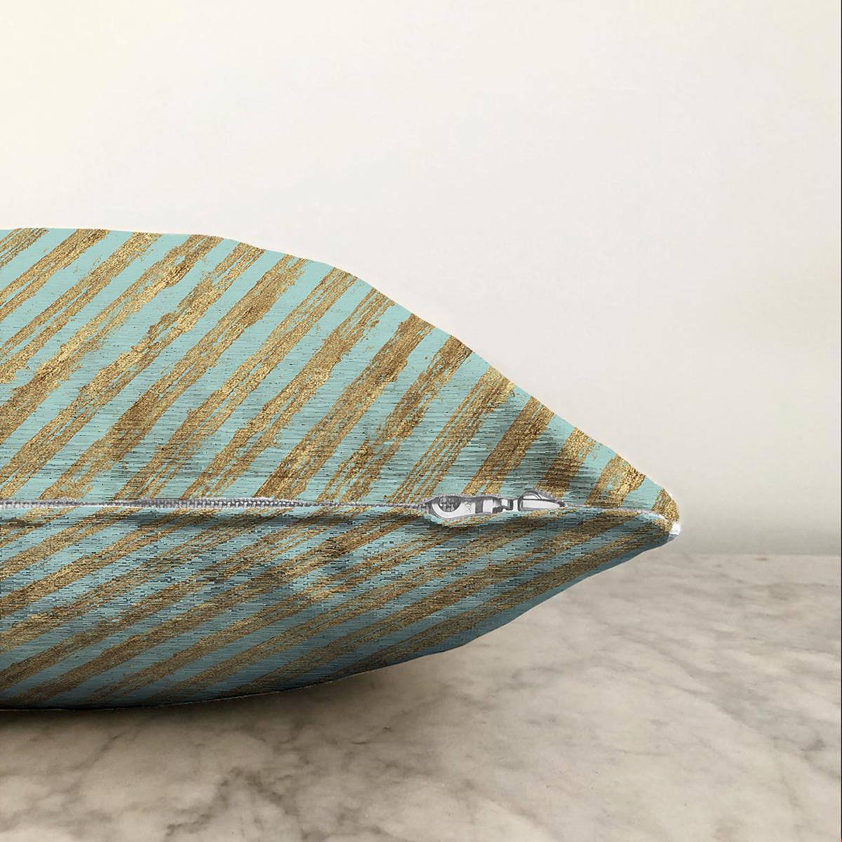 Çift Taraflı Renkli Zemin Üzerinde Gold Detaylı Yatay Çizgili Modern Şönil Yastık Kırlent Kılıfı Realhomes