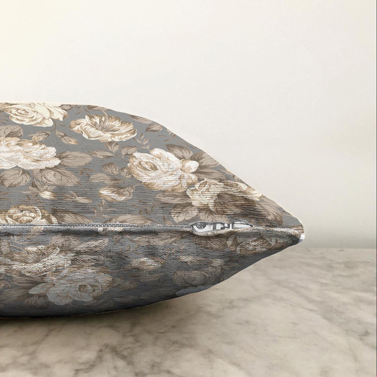 Çift Taraflı Renkli Zemin Üzerinde Gül Desenli Dijital Baskılı Modern Şönil Yastık Kırlent Kılıfı Realhomes