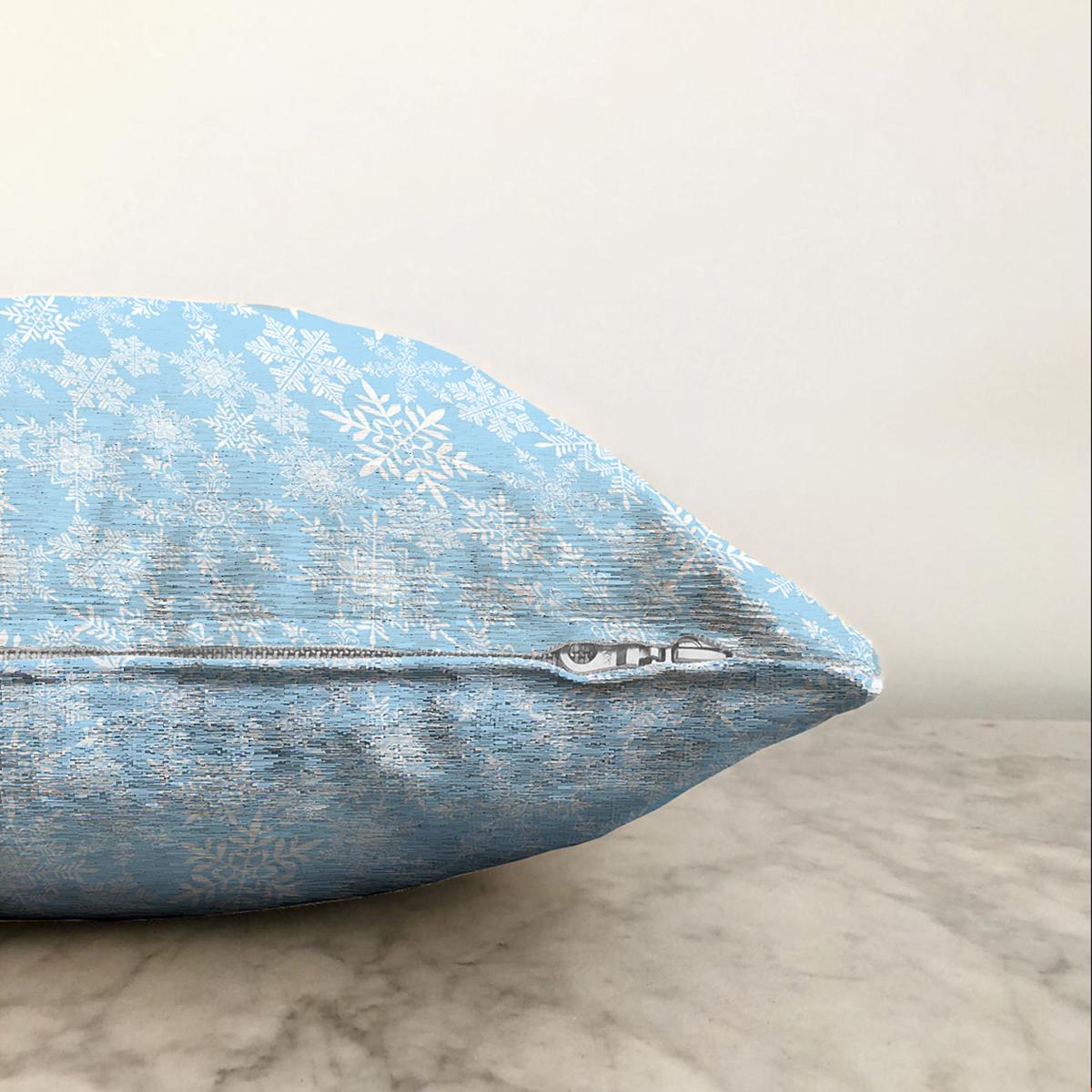 Çift Taraflı Mavi Zemin Üzerinde Kartanesi Desenli Dijital Baskılı Modern Şönil Yastık Kırlent Kılıfı Realhomes