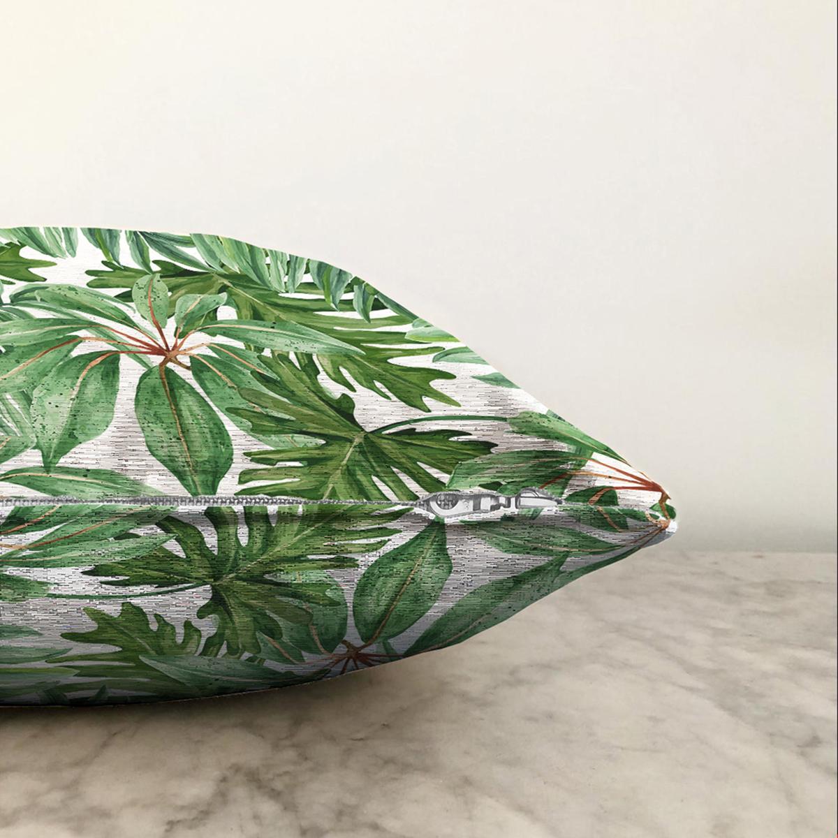 Çift Taraflı Beyaz Zemin Üzerinde Yeşil Yaprak Desenli Şönil Yastık Kırlent Kılıfı Realhomes