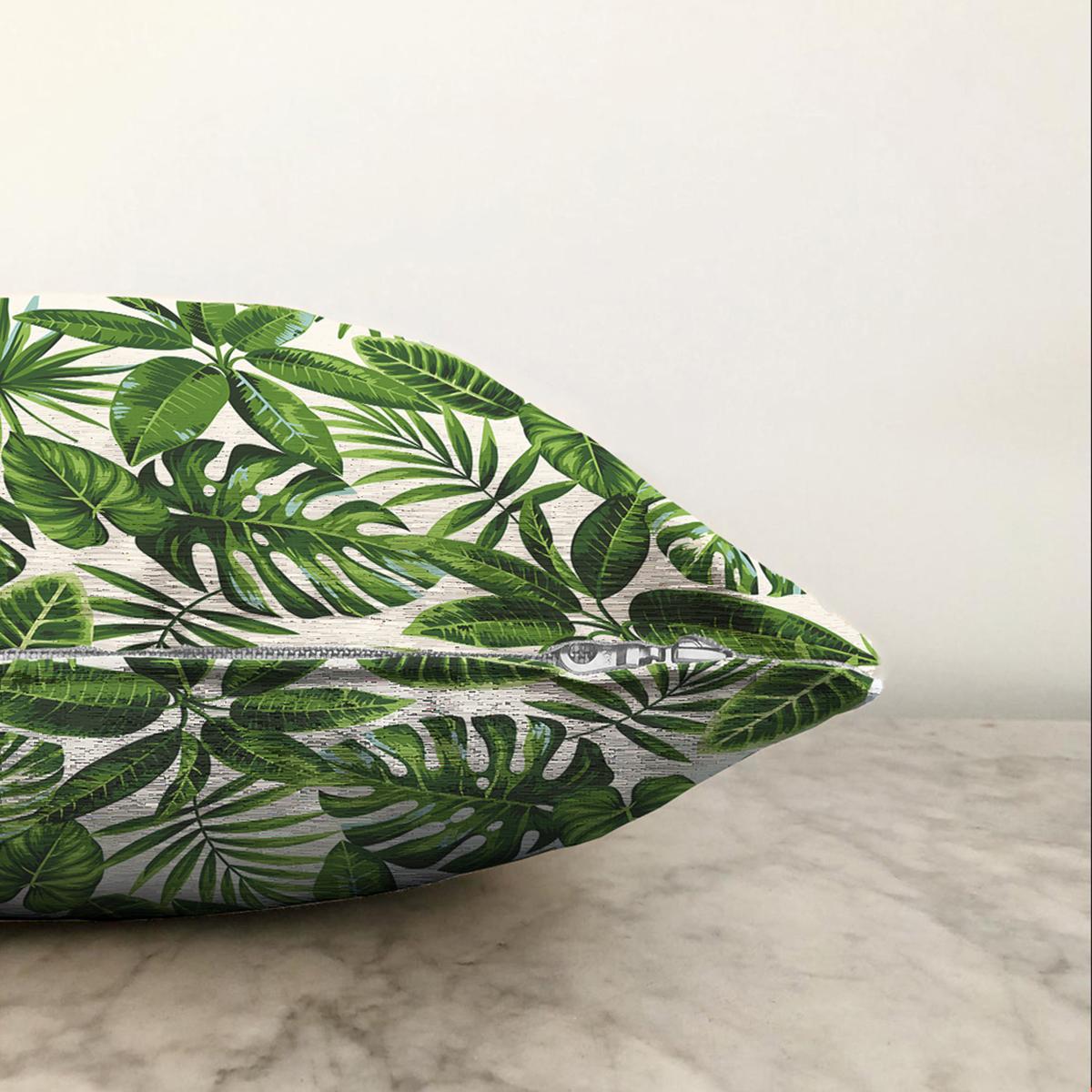 Çift Taraflı Beyaz Zeminli Yeşi Yaprak Desenli Dijital Baskılı Modern Şönil Yastık Kırlent Kılıfı Realhomes