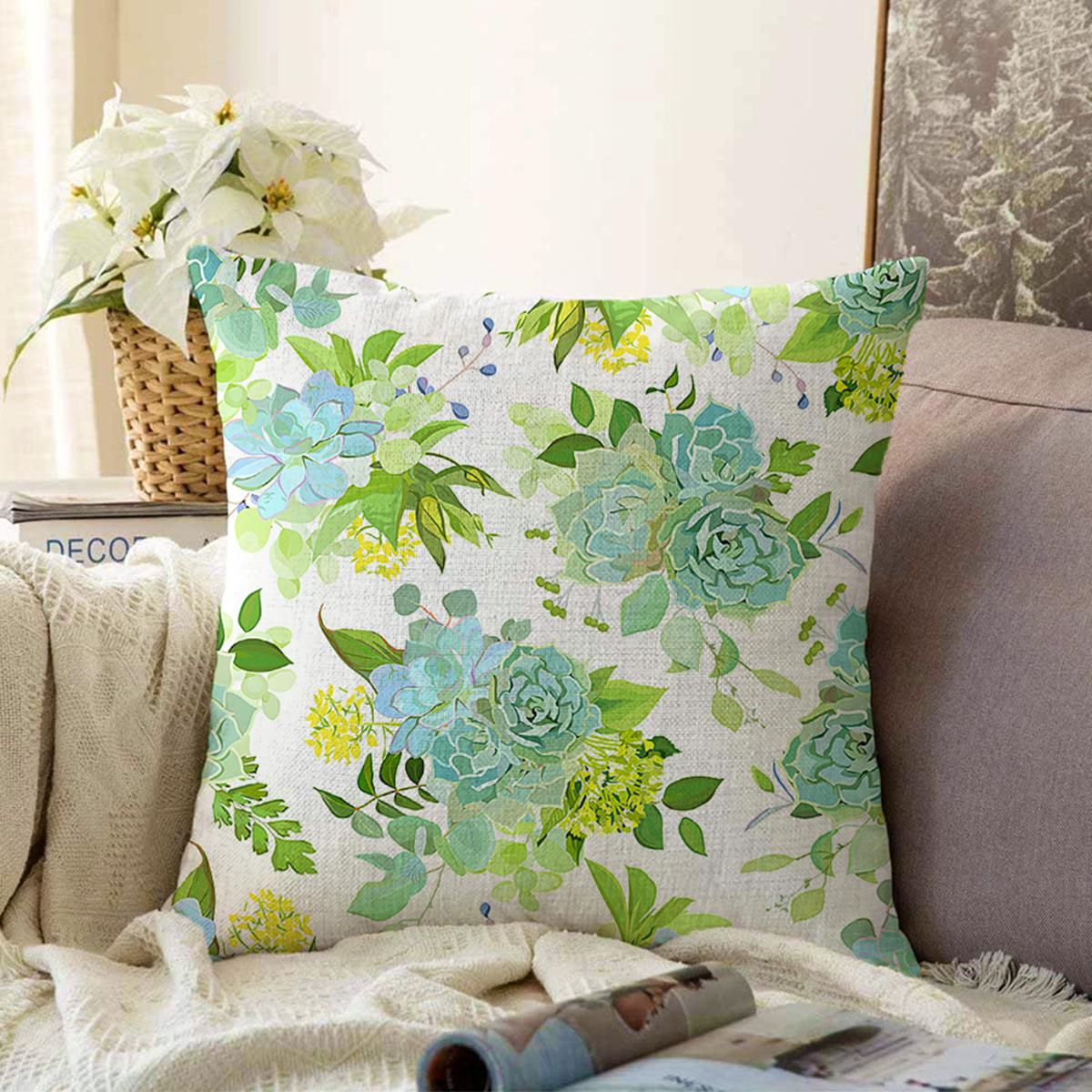 Çift Taraflı Beyaz Zemin Üzerinde Yeşil Renkli Çiçek Desenli Modern Şönil Yastık Kırlent Kılıfı Realhomes