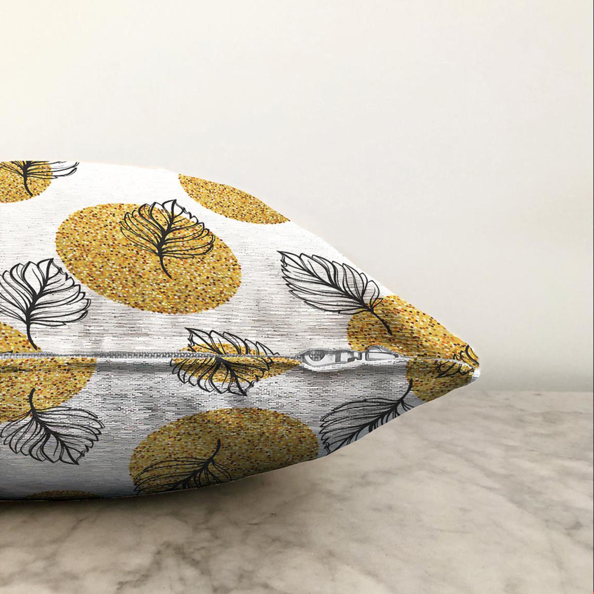 Çift Taraflı Beyaz Zemin Üzerinde Gold Puantiyeli Yaprak Desenli Şönil Yastık Kırlent Kılıfı Realhomes