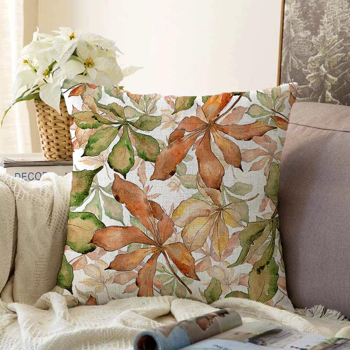 Çift Taraflı Beyaz Zeminli Sonbahar Yaprak Desenli Dijital Baskılı Modern Şönil Yastık Kırlent Kılıfı Realhomes