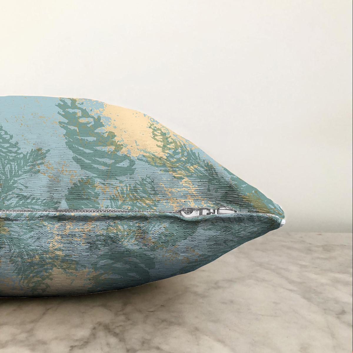 Çift Taraflı Renkli Zemin Üzerinde Gold Detaylı Mermer Desenli Modern Şönil Yastık Kırlent Kılıfı Realhomes