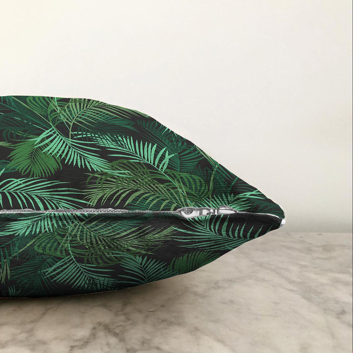Çift Taraflı Siyah Zemin Üzerinde Yeşil Yaprak Desenli Şönil Yastık Kırlent Kılıfı Realhomes