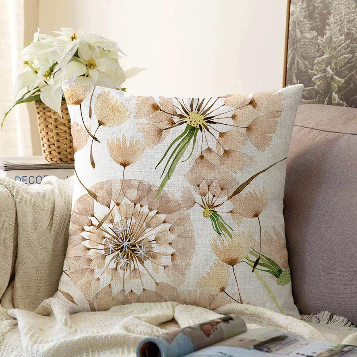 Çift Taraflı Beyaz Zemin Üzerinde Çiçek Desenli Dijital Baskılı Modern Şönil Yastık Kırlent Kılıfı Realhomes