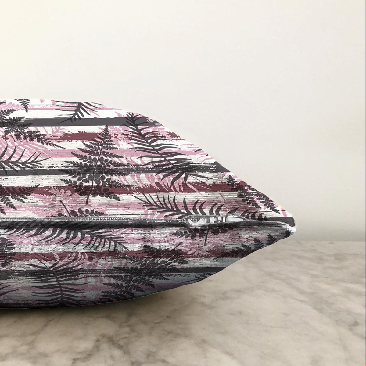 Çift Taraflı Renkli Zemin Üzerinde Çiçek Desenli Dijital Baskılı Modern Şönil Yastık Kırlent Kılıfı Realhomes