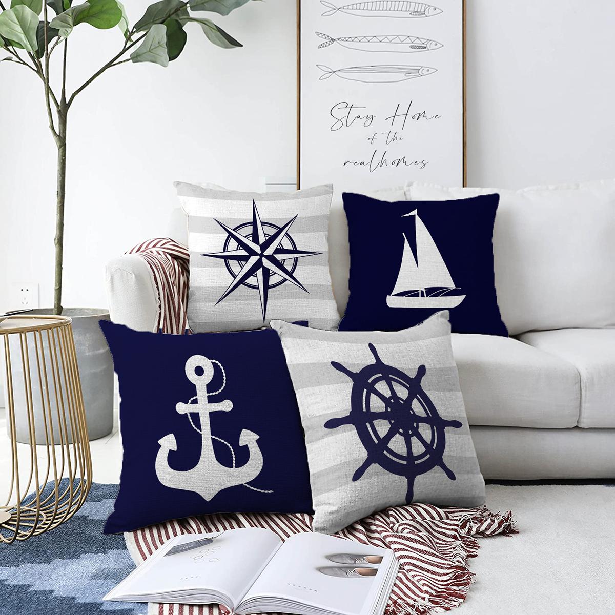 4'lü Çift Taraflı Renkli Zemin Üzerinde Denizci Desenli Modern Şönil Yastık Kırlent Kılıf Seti Realhomes