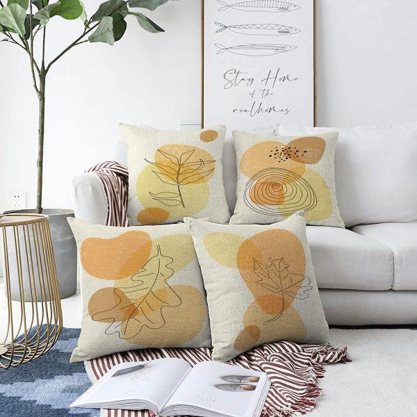 4'lü Çift Taraflı Renkli Zemin Üzerinde Onedraw Çizimli Modern Şönil Yastık Kırlent Kılıf Seti Realhomes