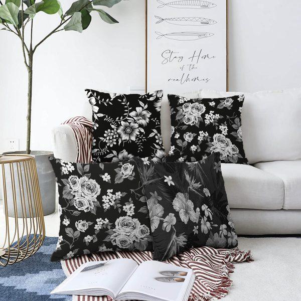 4'lü Çift Taraflı Beyaz Zemin Üzerinde Çiçek Desenli Modern Şönil Yastık Kırlent Kılıf Seti Realhomes