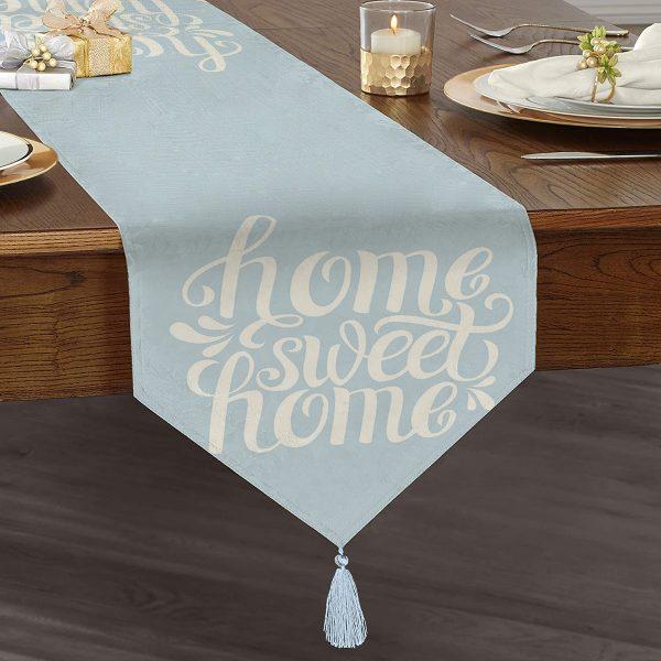 Home Sweet Home Dijital Baskılı Püsküllü Şönil Üçgen Runner Realhomes