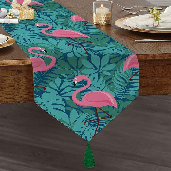 Flamingo Desenli Dijital Baskılı Püsküllü Şönil Üçgen Runner Realhomes