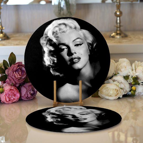 Realhomes Marilyn Monroe Resimli Dijital Baskılı Modern 2'li Yuvarlak Servis Altlığı - Supla Realhomes