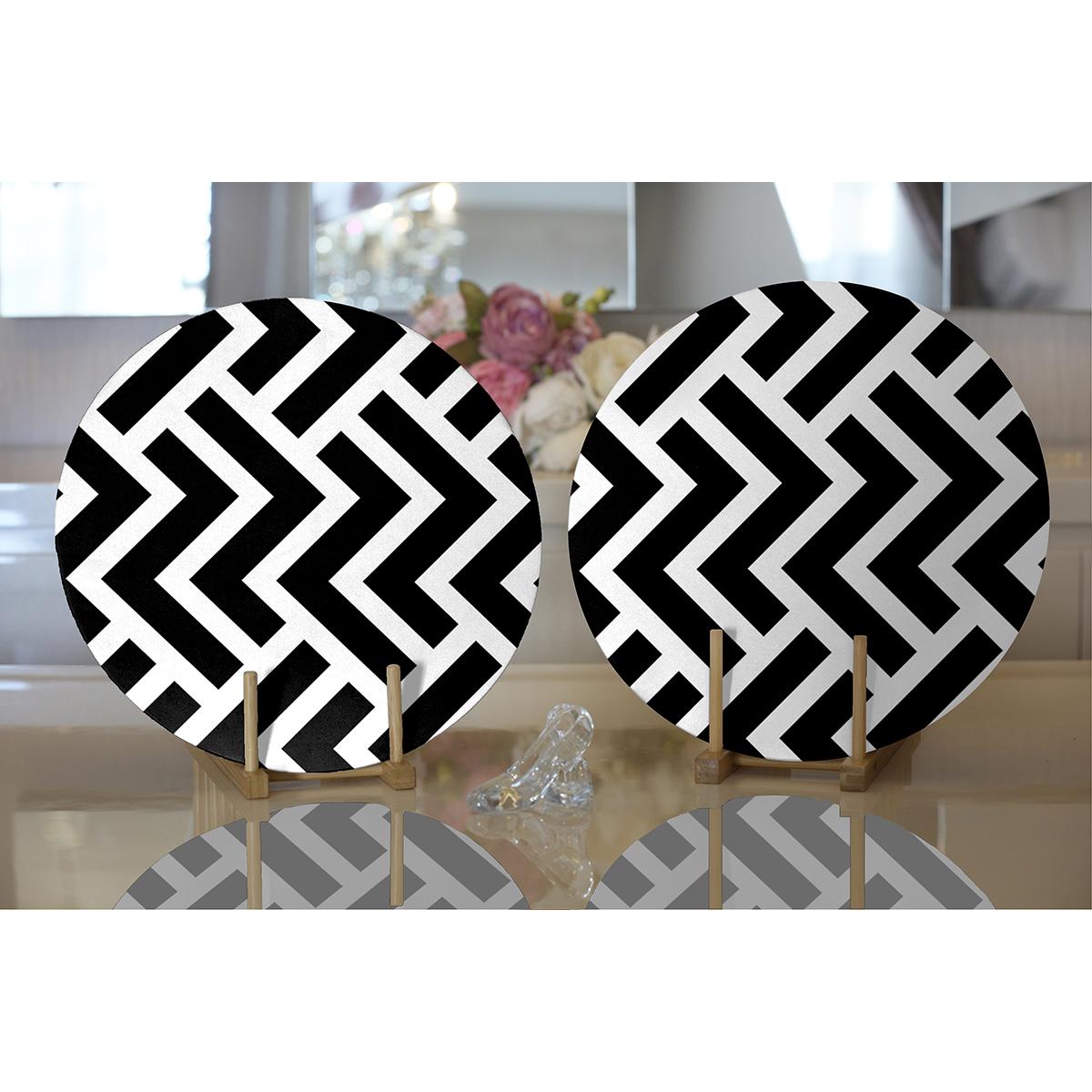 Realhomes Siyah Beyaz Geometrik Desenli Modern 2'li Yuvarlak Servis Altlığı - Supla Realhomes