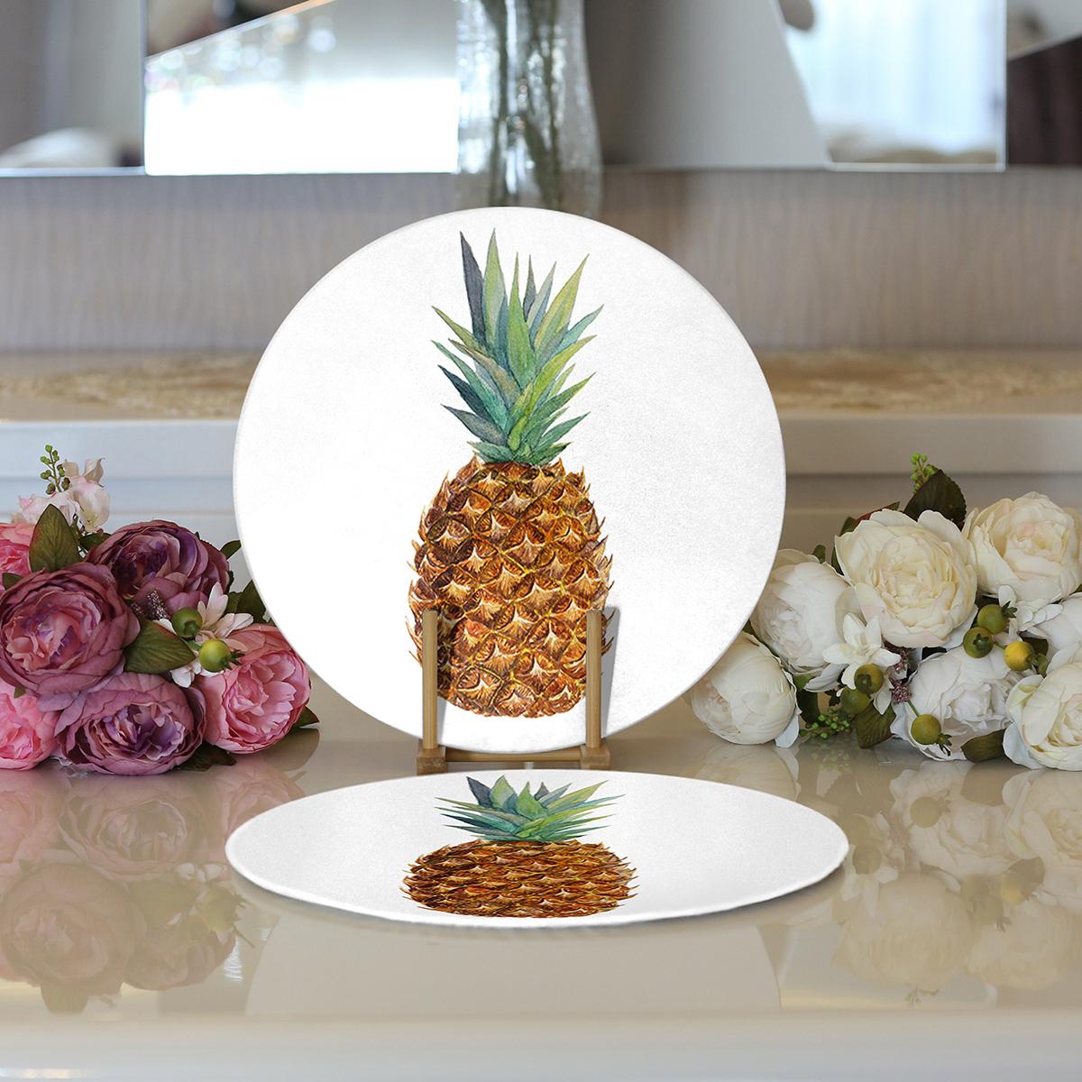 Realhomes Ananas Desenli Dijital Baskılı Modern 2'li Yuvarlak Servis Altlığı - Supla Realhomes