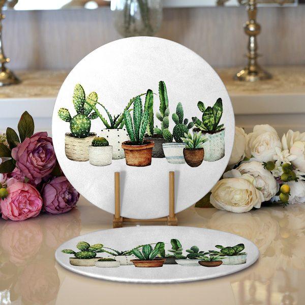 Realhomes Beatiful Cactus Dijital Baskılı Modern 2'li Yuvarlak Servis Altlığı - Supla Realhomes