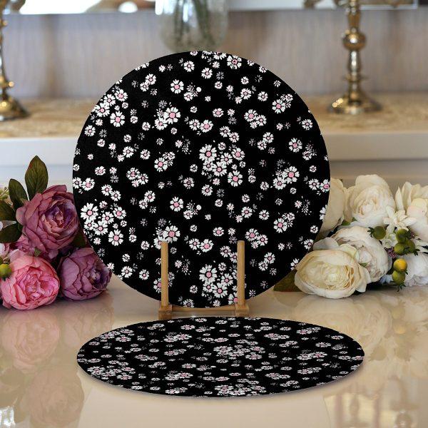 Realhomes Siyah Zeminde Beyaz Çiçekler Dijital Baskılı Modern 2'li Yuvarlak Servis Altlığı - Supla Realhomes