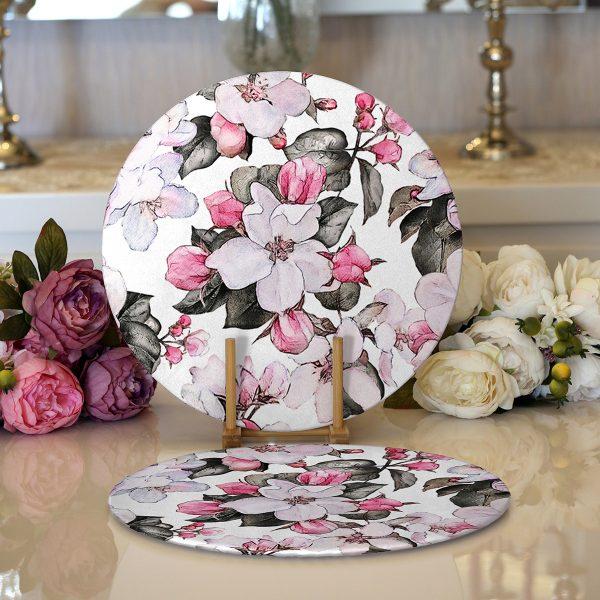Realhomes Toplu Kavaniçe Çiçek Dijital Baskılı Modern 2'li Yuvarlak Servis Altlığı - Supla Realhomes