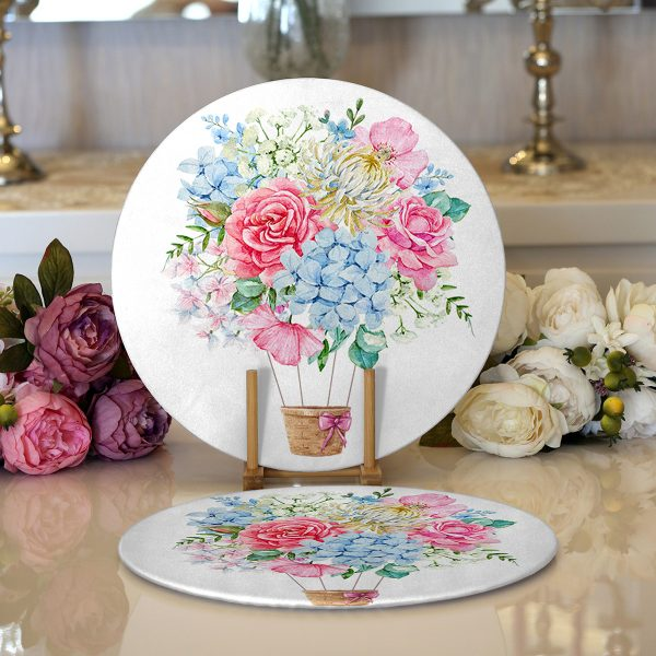 Realhomes Kurdele Motifli Karma Çiçek Dijital Baskılı Modern 2'li Yuvarlak Servis Altlığı - Supla Realhomes