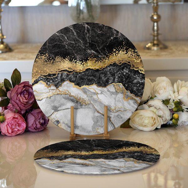 Realhomes Modern Siyah Beyaz Altın Mermer Motifli Dijital Baskılı 2'li Yuvarlak Servis Altlığı - Supla Realhomes