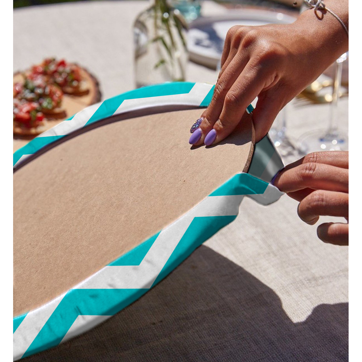 Realhomes Zigzag Desen Dijital Baskılı Modern 2'li Yuvarlak Servis Altlığı - Supla Realhomes