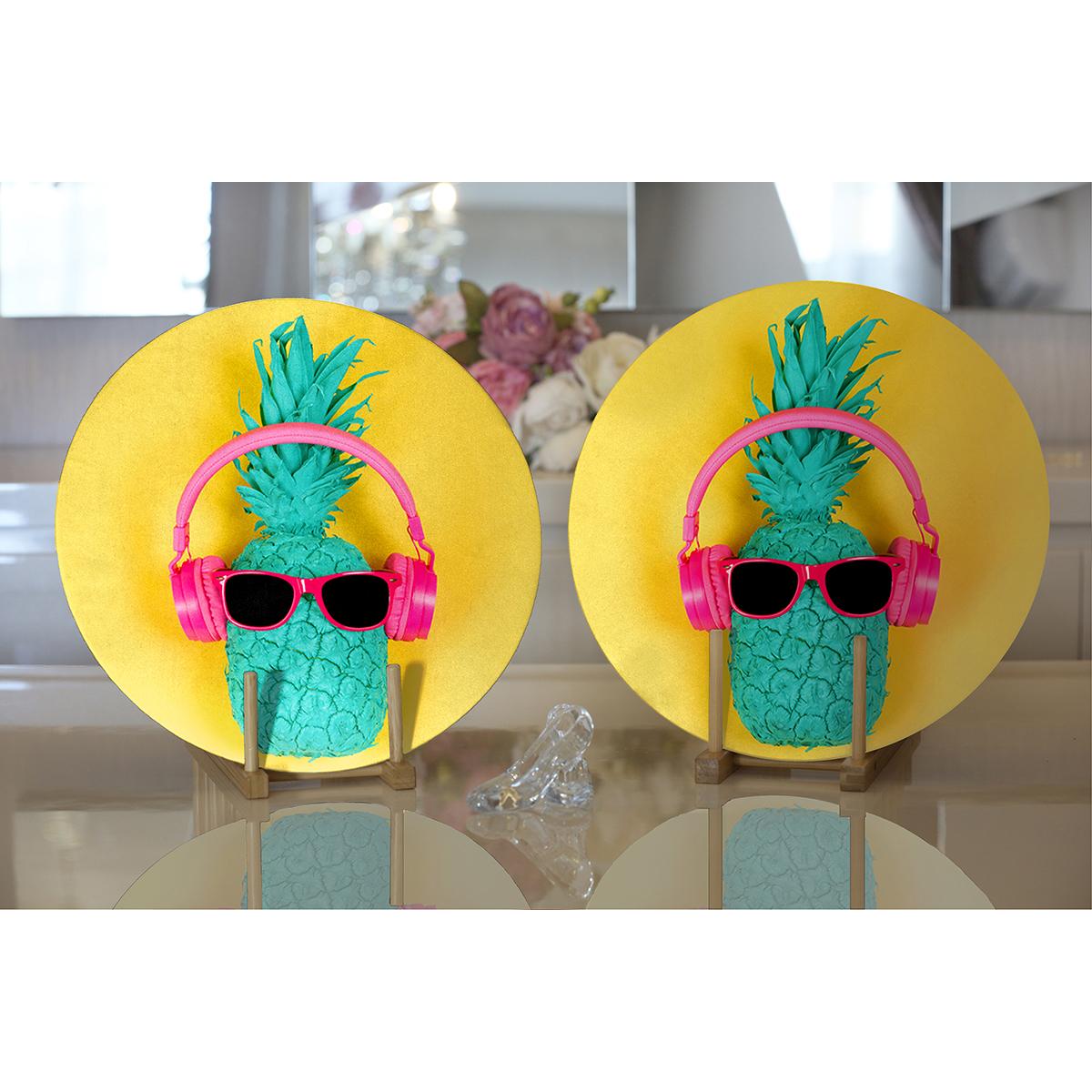 Realhomes Sarı Zeminli Ananas Detaylı Modern 2'li Yuvarlak Servis Altlığı - Supla Realhomes