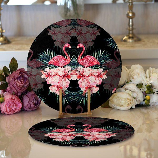 Realhomes Siyah Zeminde Lilyum ve Flamingo Özel Tasarım Modern 2'li Yuvarlak Servis Altlığı - Supla Realhomes