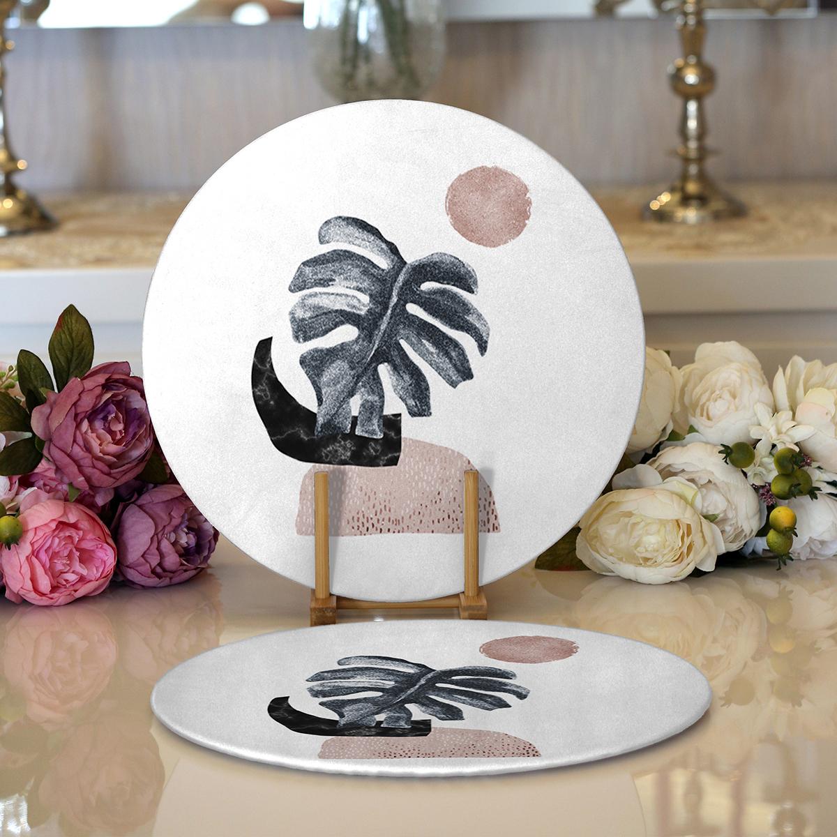 Realhomes Beyaz Zeminde Tropik Yaprak Desen Dijital Baskılı Modern 2'li Yuvarlak Servis Altlığı - Supla Realhomes
