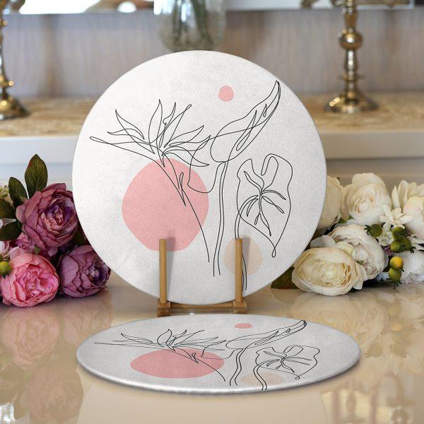 Realhomes Beyaz Zeminde Renkli Yumurta Desenli Özel Tasarım Modern 2'li Yuvarlak Servis Altlığı - Supla Realhomes