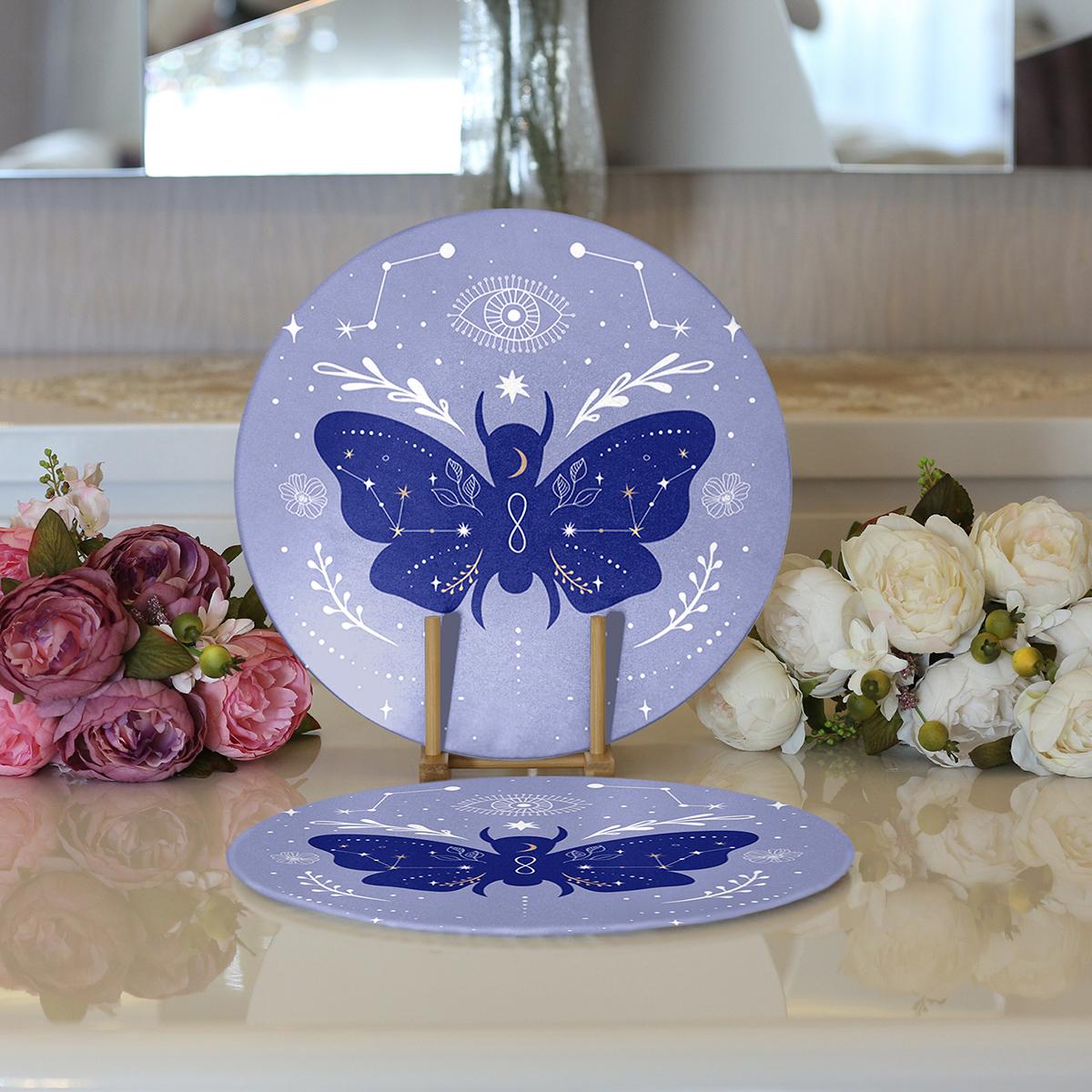 Realhomes Karolina Mavisi Zeminli Sonsuz Kelebek Desenli Modern 2'li Yuvarlak Servis Altlığı - Supla Realhomes