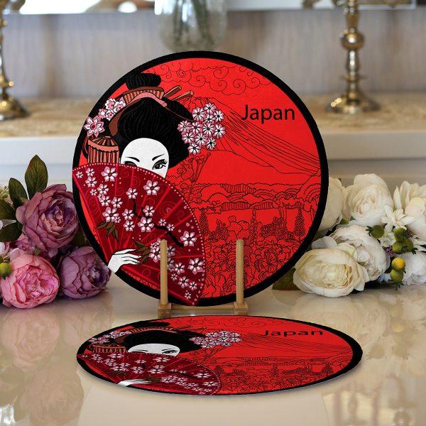 Realhomes Kırmızı Yelpazeli Şaman Japan Kadın Dijital Baskılı Modern 2'li Yuvarlak Servis Altlığı - Supla Realhomes