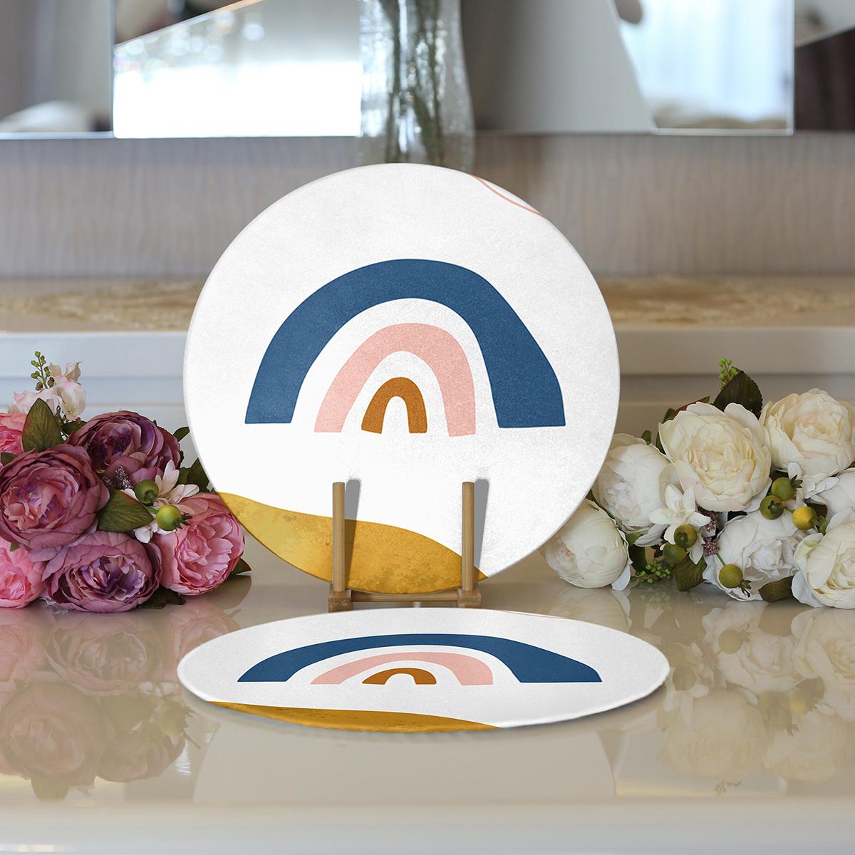 Realhomes Pastel Renkli Zeminli Onedraw Çizimli Dijital Baskılı Modern 2'li Yuvarlak Servis Altlığı - Supla Realhomes