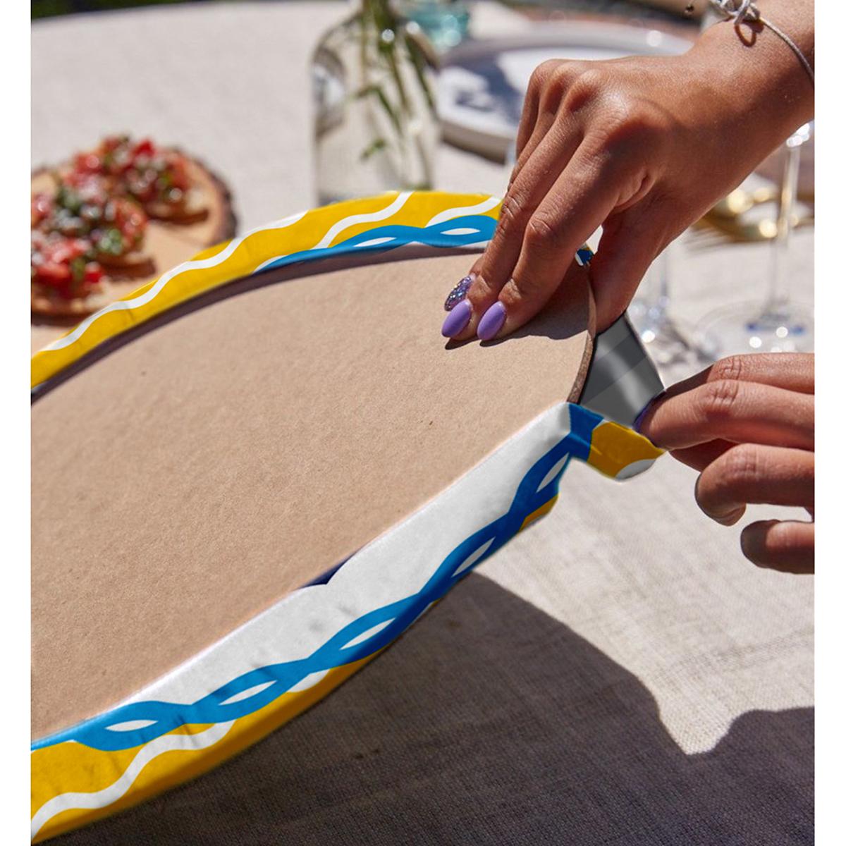 Realhomes Sarı Zemin Üzerinde Çapa Çizimli Dijital Baskılı Modern 2'li Yuvarlak Servis Altlığı - Supla Realhomes