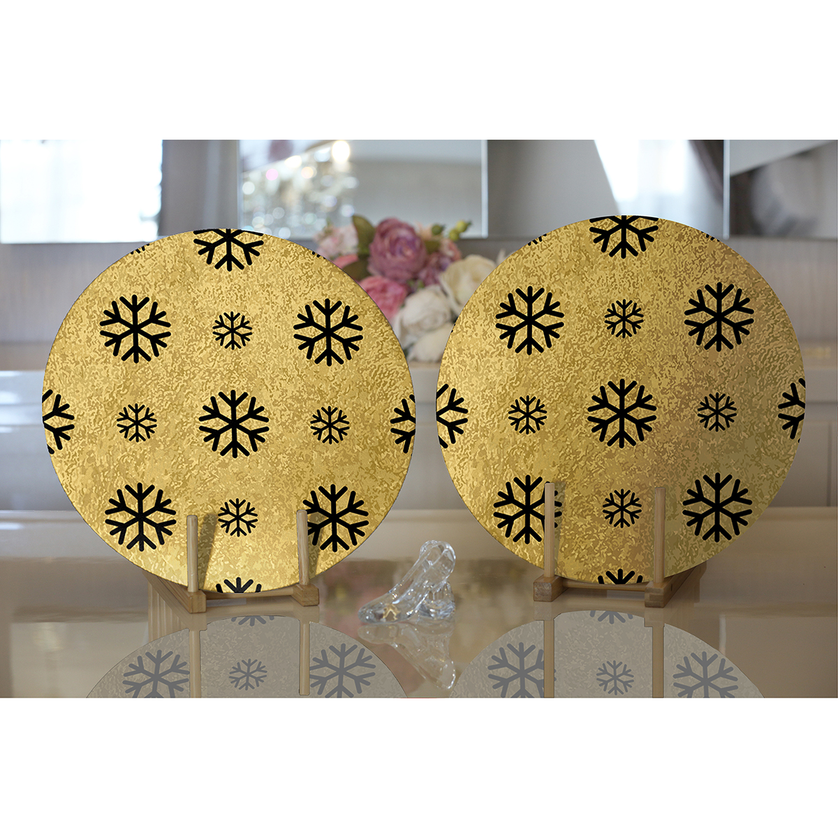 Realhomes Gold Zemin Üzerinde Siyah Renkli Kartanesi Desenli Modern 2'li Yuvarlak Servis Altlığı - Supla Realhomes