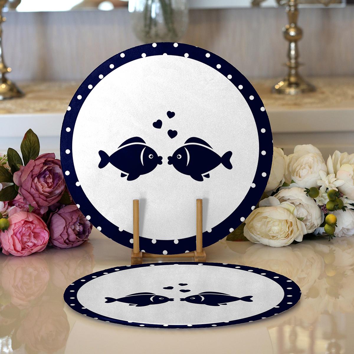 Realhomes Beyaz Zemin Üzerinde Renkli Balık Desenli 2'li Yuvarlak Servis Altlığı - Supla Realhomes