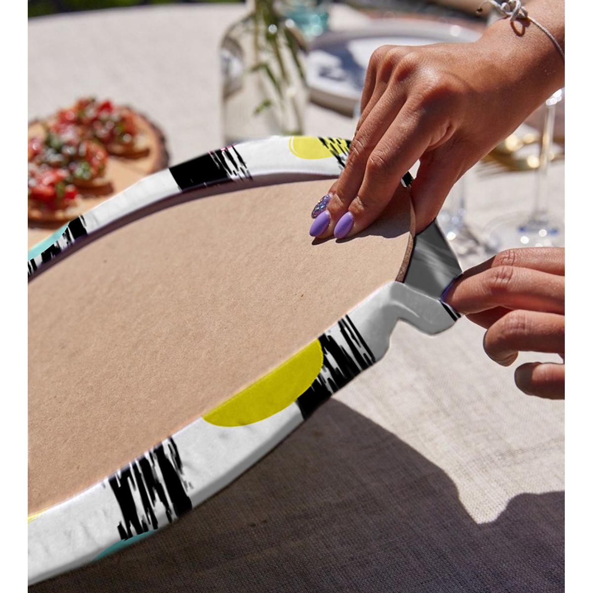 Realhomes Beyaz Zeminli Renkli Puantiye Desenli Dijital Baskılı Modern 2'li Yuvarlak Servis Altlığı - Supla Realhomes