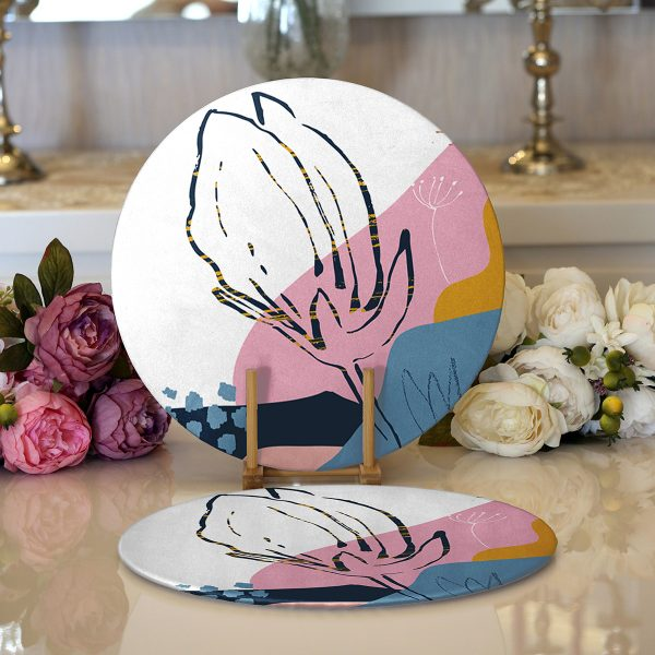 Realhomes Renkli Zemin Üzerinde Pastel Desenli Çiçek Motifli Modern 2'li Yuvarlak Servis Altlığı - Supla Realhomes