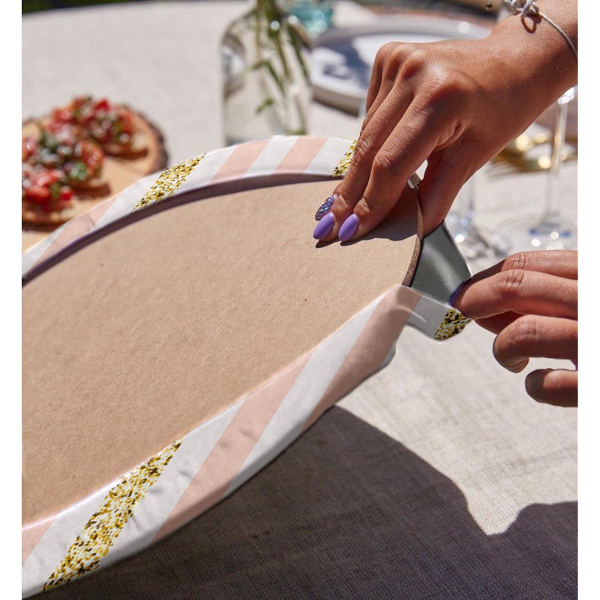 Realhomes Beyaz Zeminli Pembe Yatay Çizgili Dijital Baskılı Modern 2'li Yuvarlak Servis Altlığı - Supla Realhomes