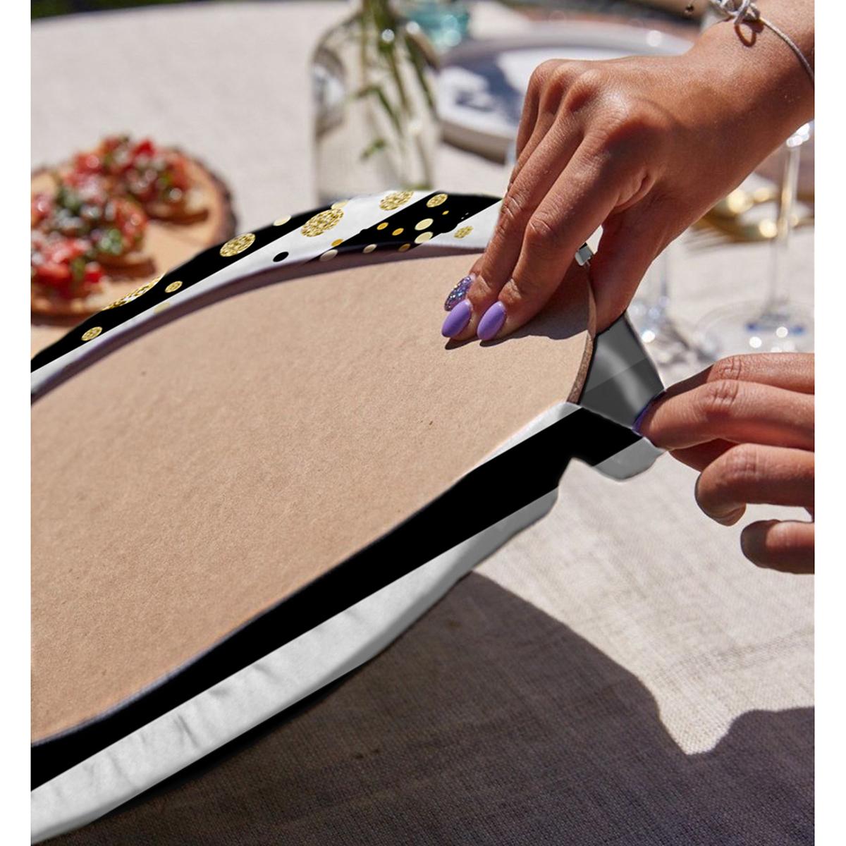 Realhomes Beyaz Zemin Üzerinde Siyah Çizgili Gold Detaylı Modern 2'li Yuvarlak Servis Altlığı - Supla Realhomes