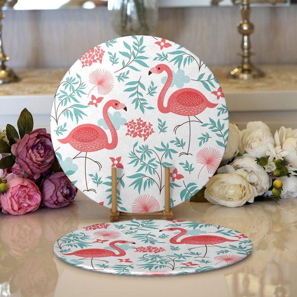 Realhomes Modern Flamingo Desenli Dijital Baskılı 2'li Yuvarlak Servis Altlığı - Supla Realhomes
